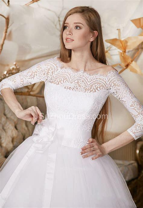 Princess Lace Tulle Bridal Dress Off the shoulder 3/4
