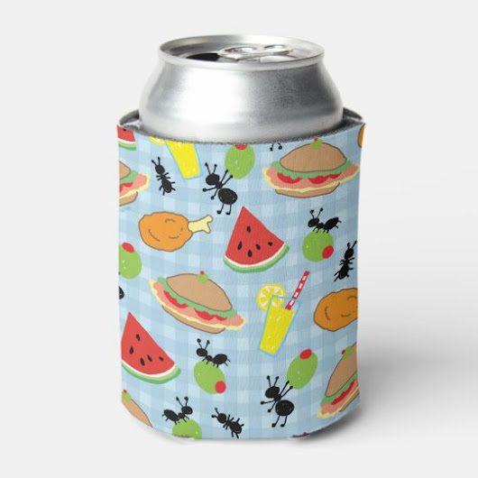 Funny Picnic Food Pattern Can Cooler