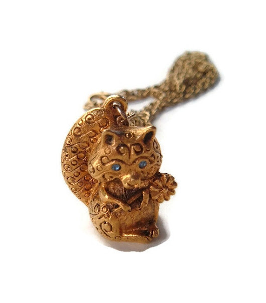 Vintage Raccoon Locket Perfume Locket Animal by spankyluvsvintage