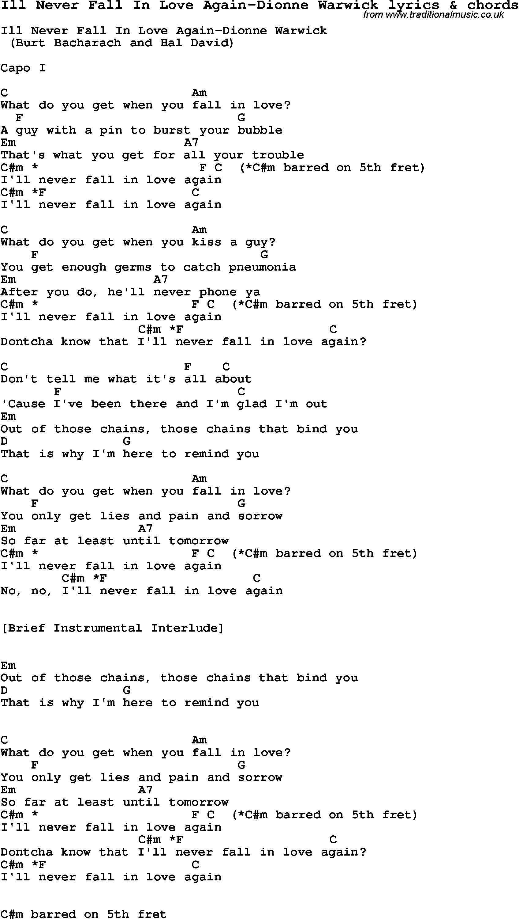 Love Song Lyrics Forill Never Fall In Love Again Dionne Warwick
