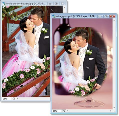 Wedding Couple in Wine Glass   Photoshop Tutorial