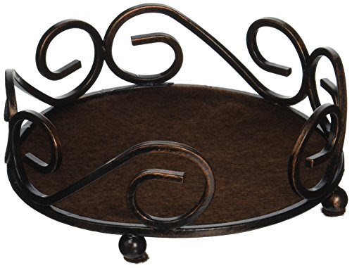 Thirstystone Round Scroll Holder in Bronze (Holds 4 Stoneware Coasters)