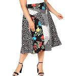 Calvin Klein Womens Plus Angle Hem Printed Skirt Black 18W