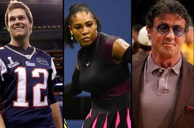 Tom Brady; Serena Williams; Silvester Stallone (Foto: Montagem Infoesporte)