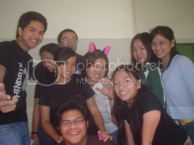 Count each and everyone of us in here, and you'll have an idea how overwhelming school can be. Clockwise from top left: Jason, Clarence, me, Malia (in the pink-cat-ear headband), Steph, Ale, Jill (with the other headband), Sudoy and Ariane. Image hosted by Photobucket
