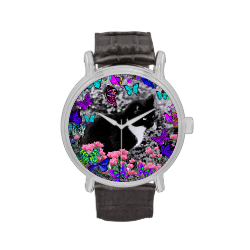 Freckles in Butterflies II - Tuxedo Cat Wristwatches