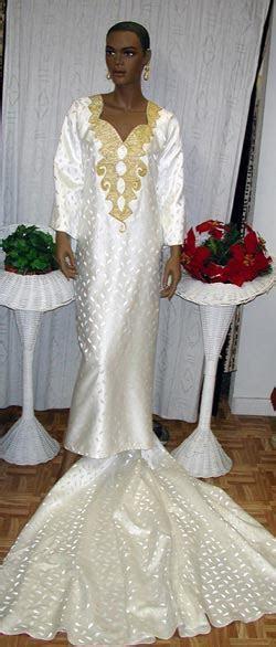 African Wedding Dress  Cream and Gold Dress