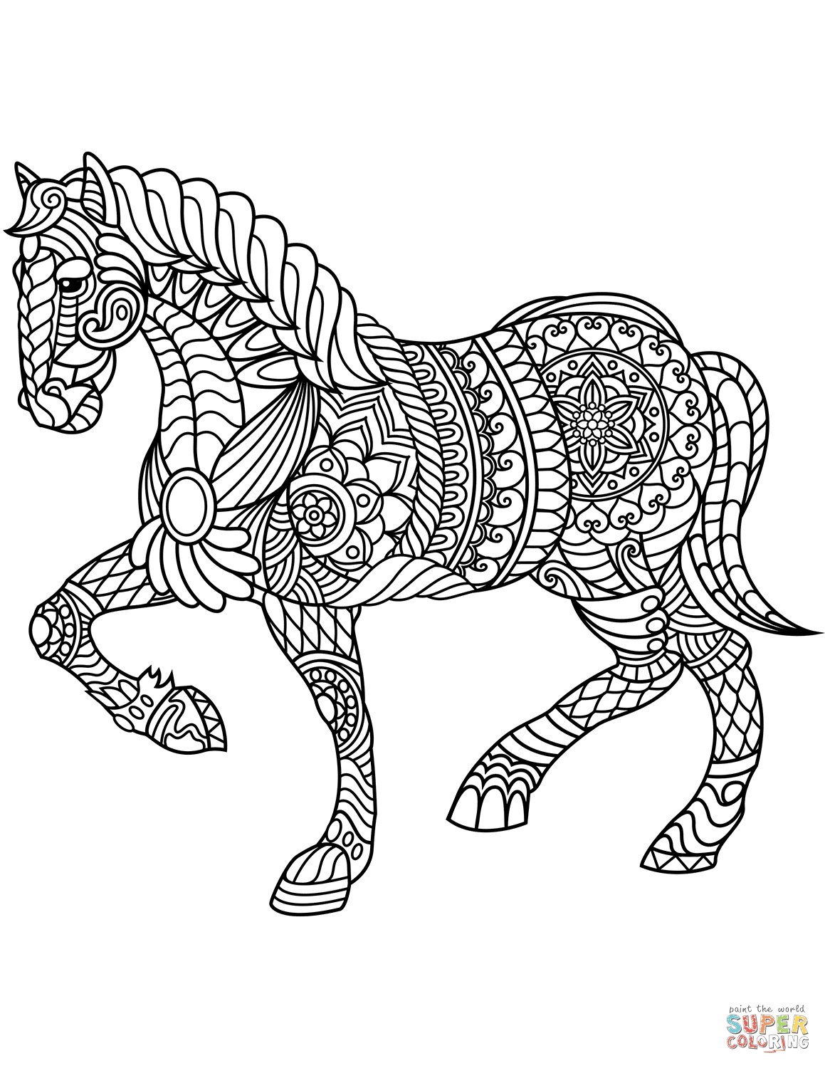 Horse Zentangle coloring page | Free Printable Coloring Pages