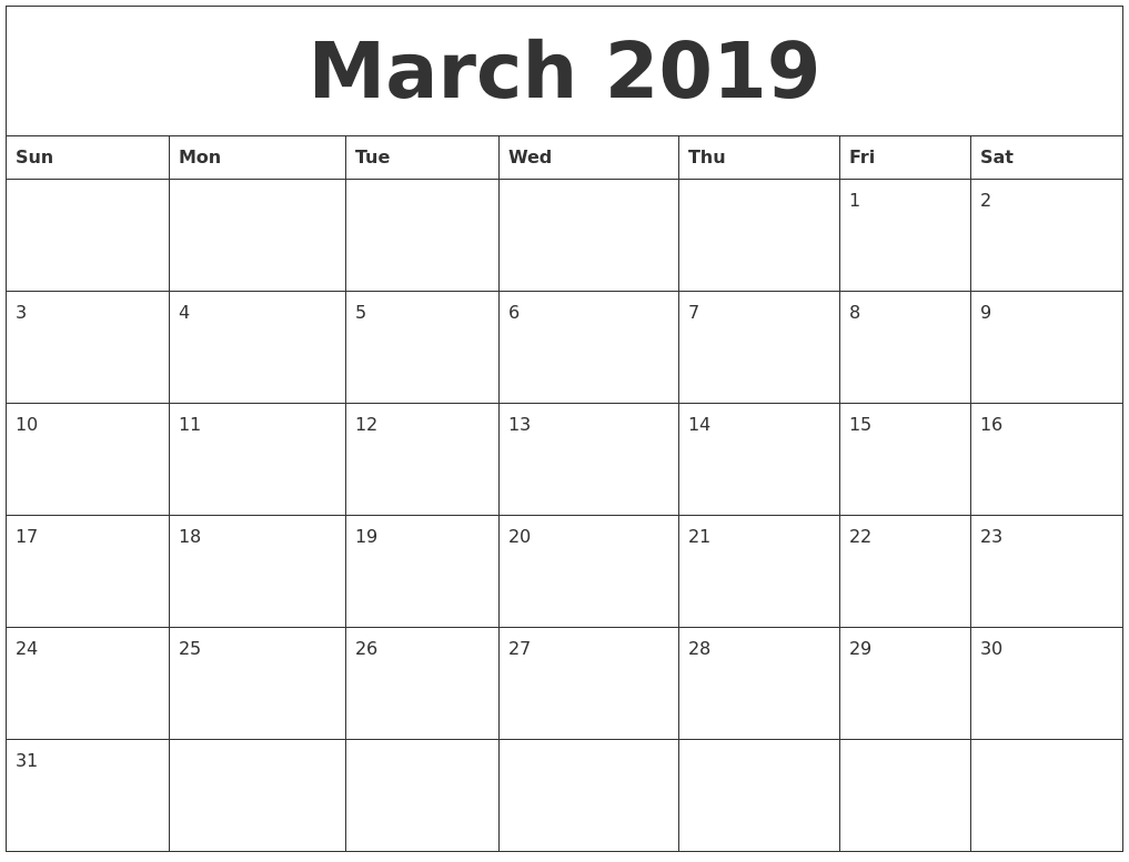 march 2019 monthly printable calendar