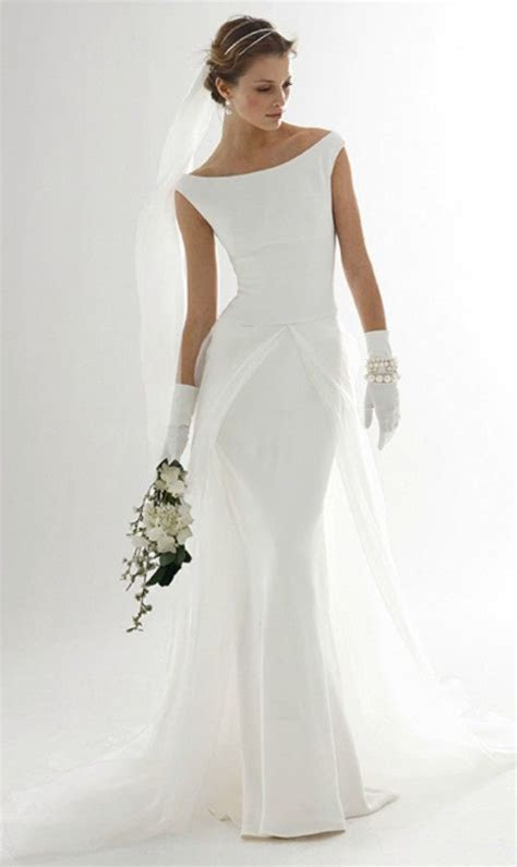 Simple Elegant Wedding Dress for Older Bride   Mature