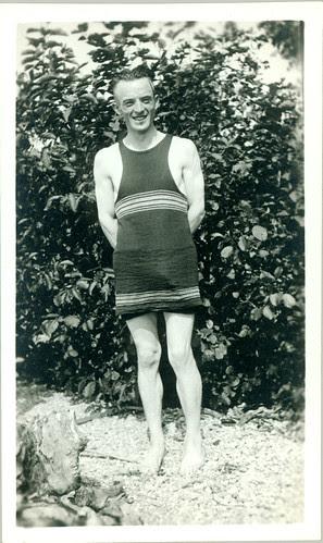 old bathing garb man on beach