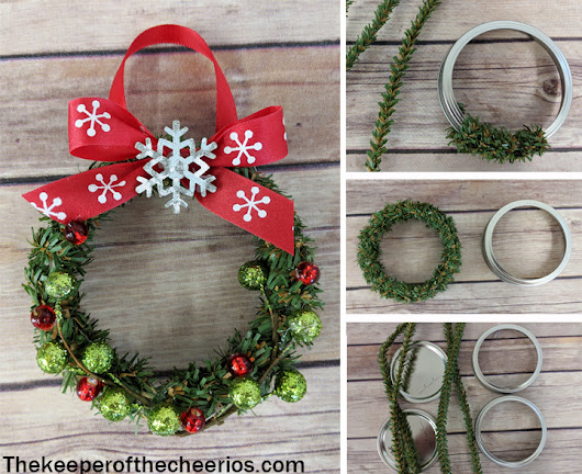 Mason Jar Lid Wreath Ornament - The Keeper of the Cheerios