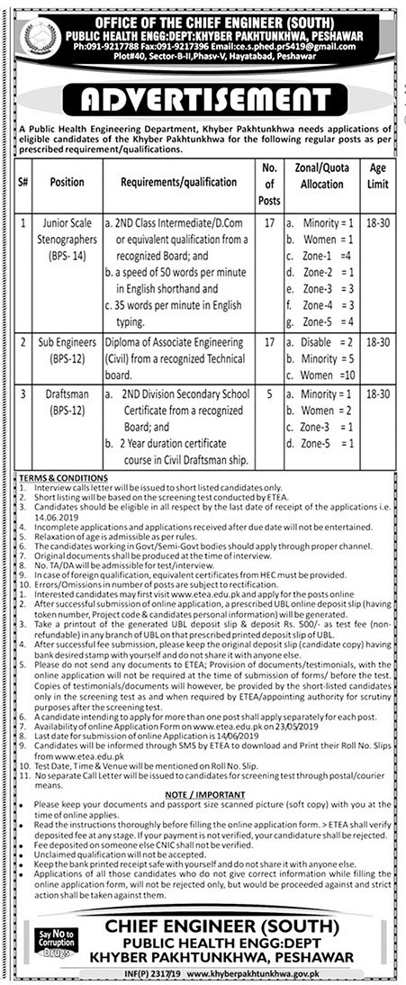 Public Health Engineering Department Khyber Pakhtunkhwa Jobs 2019 for Junior Scale Stenographers, Sub Engineers & Draftsman Latest