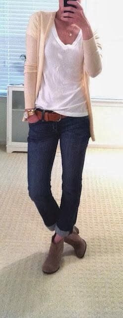 Adorable Work Outfit - Cardigan, White Blouse, Jeans,Belt and Denim