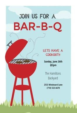 BBQ Cookout   Free BBQ Party Invitation Template