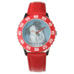cute border collie dog with blue teddy bear wrist watch