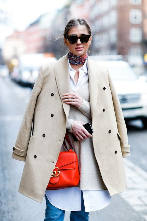 Le Fashion Blog Fall Blogger Style Oversized Cat Eye Sunglasses Silk Neck Scarf Beige Wool Coat Oversized V Neck Knit Layered Over White Button Down Shirt Red Gucci Bag Denim Via Darja Barannik