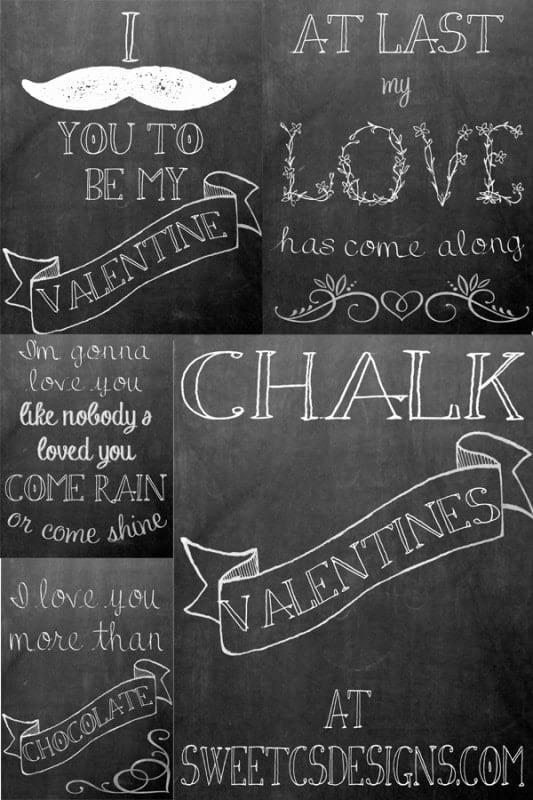 free chalkboard valentines printables!