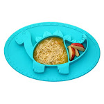 Stegos The 3D Dinomat-100 Percent Food Grade Silicone Suction Placemat Food Mat for Infants & Toddlers Caribbean Blue PR1014502