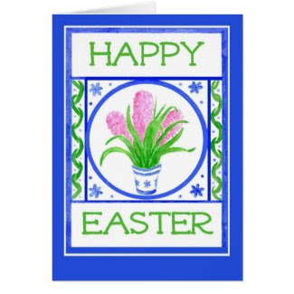 Easter Card with Pink Hyacinths