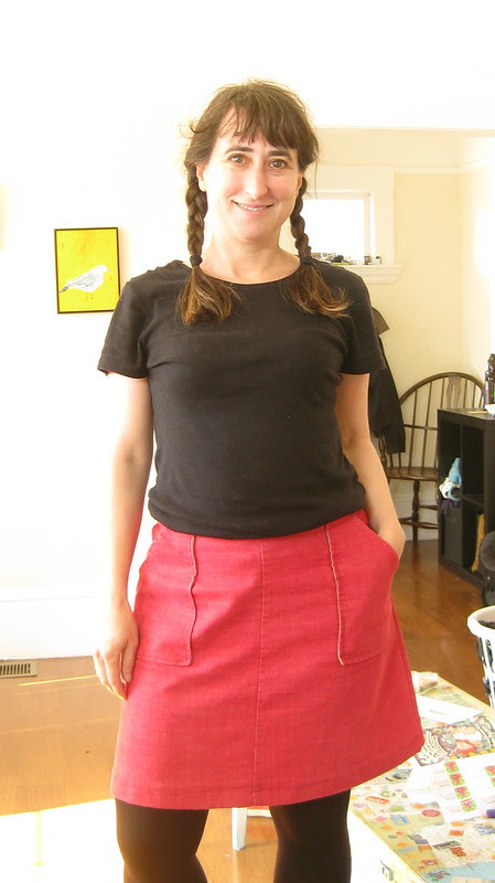 MMMay Day 21: Red Denim Skirt