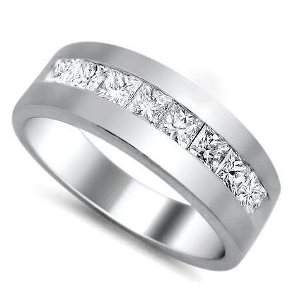 Mens 1.0ct Princess Cut Diamond Wedding Band Ring Platinum