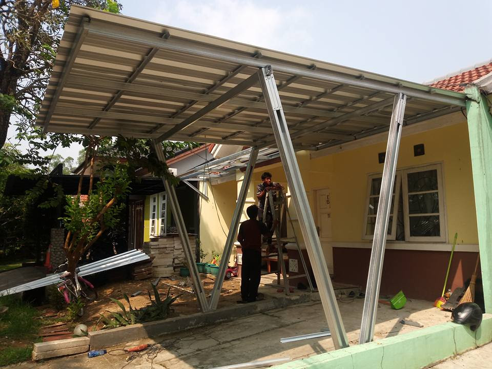 Kanopi baja  ringan  keren model  tiang  V atap spandeck