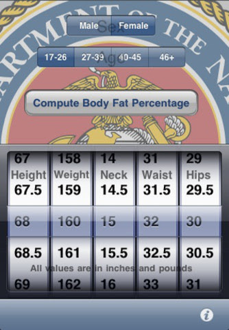 body fat percentage calculator marines