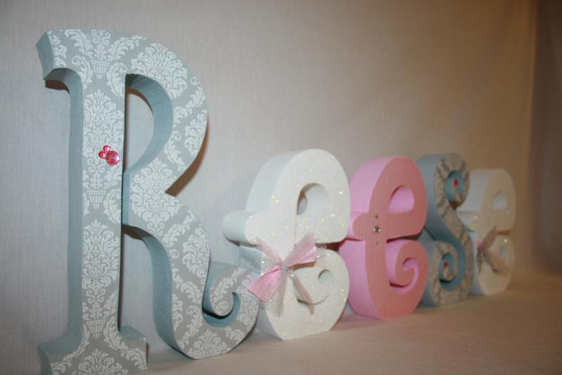 Nursery letters Baby girl wooden letters pink and by WoodenWonders