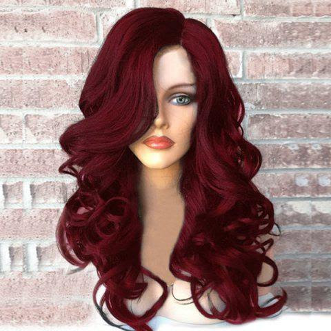 Side Part Long Fluffy Wavy Synthetic Wig