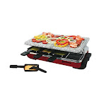 Classic Raclette 8-Person Party Grill with Granite Top - Red