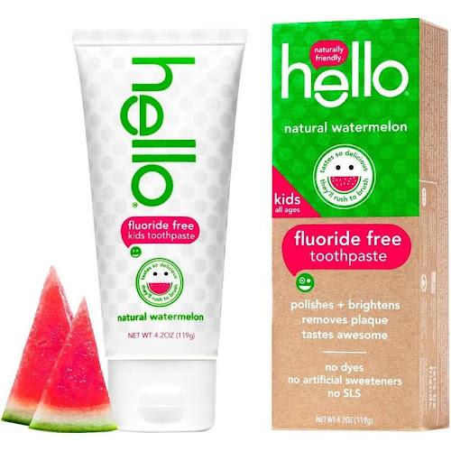 Hello Kids Fluoride Free Toothpaste, Natural Watermelon - 4.2 oz tube