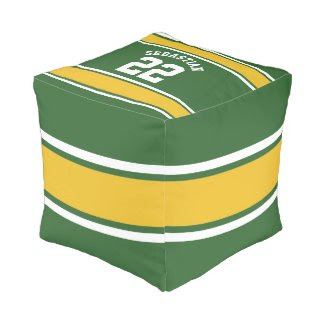 Football Jersey Novelty Personalized Name Cube Pouf