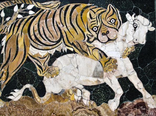 Tigre che assale un vitello (mosaico romano custodito nei Musei Capitolini)