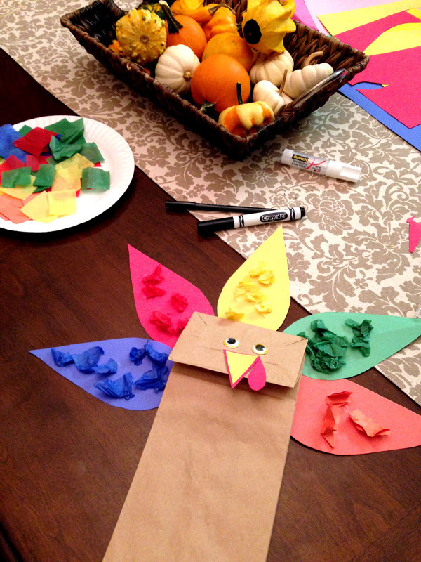 Making a Thanksgiving Paper Bag Turkey Puppet Craft