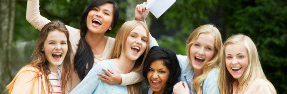 Young people celebrate their exam results