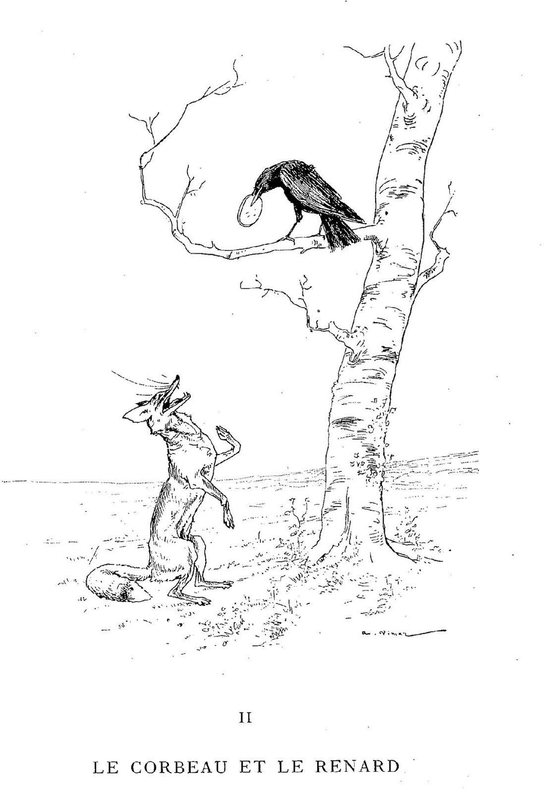 Illustration dessin Vimar fable de La Fontaine le corbeau et le renard