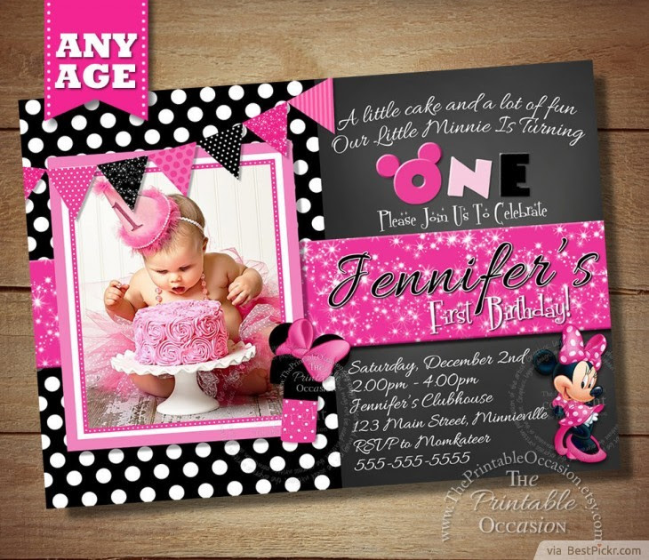 1st birthday minnie mouse invitation