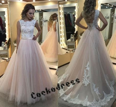 corset   blush pink tulle wedding dresses  lace