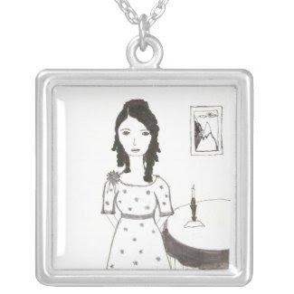 Jane Austen's home Square Pendant Necklace