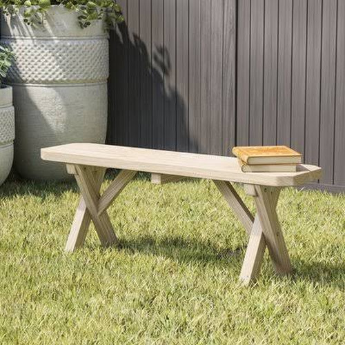 Google Express Loon Peak Sempronius Wood Picnic Bench Beige - Unfinished wood picnic table