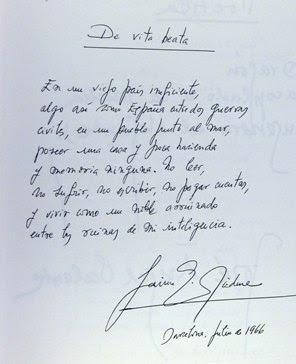 Poema manuscrito de Jaime Gil de Biedma