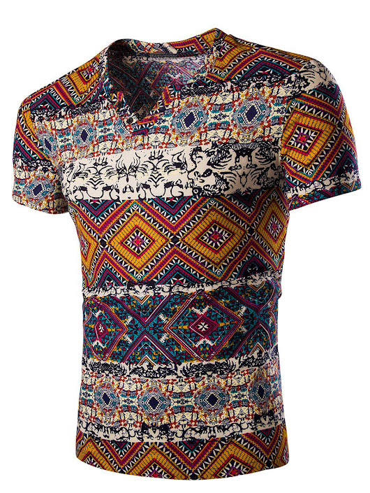 Fashion V Neck Abstract Printing Short Sleeves T-Shirt For Men T-shirts | RoseGal.com
