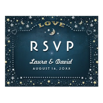 Moon & Stars Teal Gold & White Matching Rsvp Postcard by juliea2010 at Zazzle