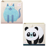 3 Sprouts Children's Fabric Storage Cube Bundle with Blue Cat and Panda Bear at Spreetail (VMinnovations | VM Express)