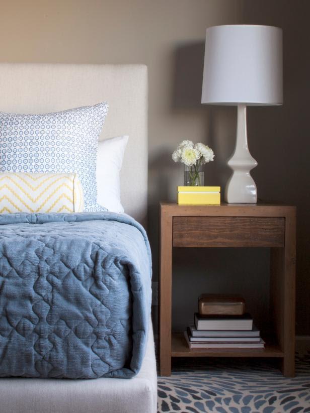 Chic Reclaimed Wood Nightstand in Gray Master Bedroom | HGTV