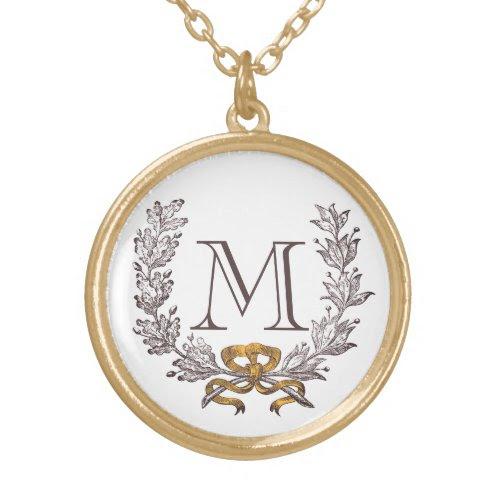 Vintage Wreath Personalized Monogram Initial Gold Custom Jewelry
