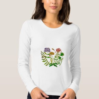 Botanical Illustration on Women's Long Sleeve Top Shirts