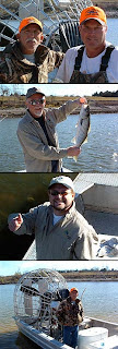 Texoma airboat guides on the Red River, Stan and JC of Lake Texoma Guide Service.