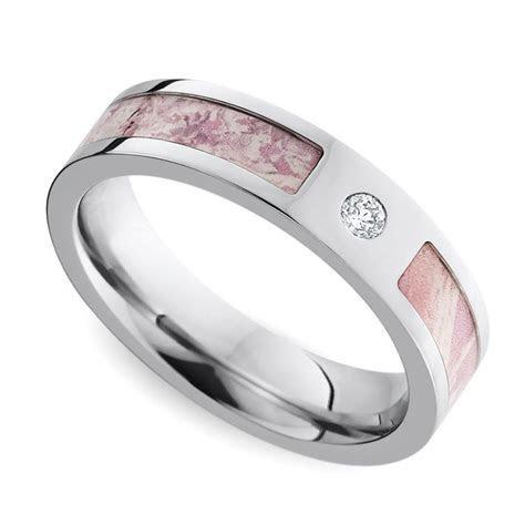 Pink Camo Inlay Diamond Wedding Ring in Cobalt